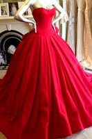 Wholesale Cheap Red Quinceanera Dresses Strapless Pleated Satin Ball Gowns Prom Dresses Party Dresses Dhyz