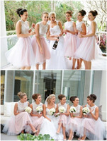 Wholesale White Pink Short Bridesmaid Dress Sweetheart Sleeveless Lace Tulle Knee Length Plus Size Short Wedding Party Dresses Maid Of Honor