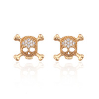 Wholesale Women Fashion K Gold Colour Earring Studs Skull Shape Inlay White Cublic Zircon Xuping High Quality Copper Jewelry Earrings for Gifts