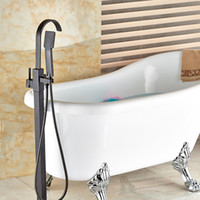 Wholesale And Retail Oil Rubbed Bronze Solid Brass Bathroom Tub Faucet Tub Filler Mixer Tap Floor Mounted Free Standing