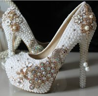 Wholesale New Design Pearl Rhinestone Luxury Evening Prom Bridal Shoes Woman Platform High Heel Cm Women Wedding Shoes