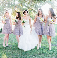 short strapless dress - 2015 Lilac Sweetheart Short Bridesmaid Dresses Cheap Tulle Venice Lace Customized Wedding Party Dresses Beach Style Hot Design Formal Dress