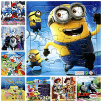 Wholesale 3IN1Paper Cartoon Puzzle Kids Toy Anime Baymax doraemon Sophia Thomas minion Mickey Plants vs zombies jigsaw Puzzle
