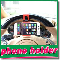 4 wheel - for iphone plus S S Universal Car Streeling Steering Wheel Cradle Holder SMART Clip Car Bike Mount for Mobile Cell Phone GPS free DHL