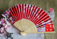 Wholesale New Arrive Fans Bamboo Folding Hand Dancing Wedding Party Decor Flower Hand Held Fan