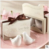 Wholesale 100pcs CCA2390 Novelty Love Birds In The Window Ceramic Salt Pepper Shakers Wedding Favors For Party Gift With Retail Box Favors