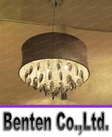 Wholesale Crystal Drum Pendant Lights - Free shipping Smoke grey Crystal Drum Chandelier Light Pendant Lamp Ceiling Fixture with Light Gray Shade LLFA4299F