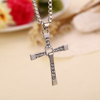 wholesale cross pendants - 2016 Movie jewelry The Fast and Furious Dominic Toretto Classic Male Rhinestone CROSS Pendant Necklace ZJ