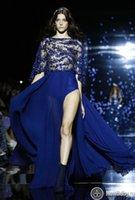 achat en gros de zuhair murad robe de paillettes bleu-Royal Blue 2015 Robes de soirée formelles Zuhair Murad Long Robes de bal avec des paillettes Perles Split Front Soft en mousseline de soie