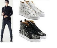 Cheap New Men's Celebrity Spike Studded Shoes High-TOP LACE UP RIVET COVER Sneakers-F