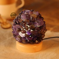 amethyst crystal lamps - Natural Amethyst Flower Ball Wooden Base Night Sleeping Lamp USB LED Emergency Light for Crystal Craft Wedding Party Decoration