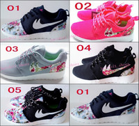 athletic shoes girls - New Roshe Run Floral Women And Men Running Shoes Fashion Athletic Casual Sports Shoes Flower Boy Girl Mesh Free Run Shoe