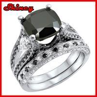 Wholesale Shiney jewelry factory promotion cubic zirconia wedding engagement style new design ring black stone ring set