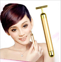 Wholesale 2015 Face slimming face lift skin tightening k gold beauty bar vibration face massage roller phoebe wrinkle facial care machine ml