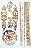 Wholesale attoo Body Art Temporary Tattoos Body art gold glitter jewelry tattoo stickers Waterproof temporary tattoos for women fake flash metallic