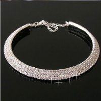 Wholesale 2015 Bridal Rould Necklace New Arrivals Bridal Jewelry Silver Rhinstones Crystals Bridesmaid Jewelry For Women Prom Party Celebrity Weddings