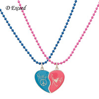 baby girl enamel necklace - New Cheap Girl Baby Jewelry Blue Pink Heart Broken Enamel Pendant Necklace for Teens Fashion Jewelry