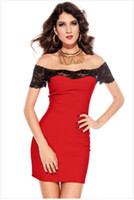 Wholesale New hot sale western style fashion evening dress short sleeve boat neck sexy lace splicing slim cherrykeke dress colors
