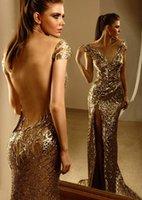 Wholesale New Sexy Vestido De Noite Zuhair Murad Cap Sleeve Gold Sequined Lace Mermaid Backless Long Luxury Prom Evening Dresses Evening Gowns