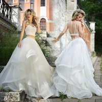 ball gown pattern free - 2016 White Scoop Backless Two pieces in One Ball Gown Wedding Dresses Petal Power Beaded Appliques Organza Bridal Gowns