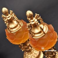 Wholesale Led Buddhism lotus lamp glass lamp Lotus Lantern long copper base Buddha Buddha lamp light crystal lamp inch