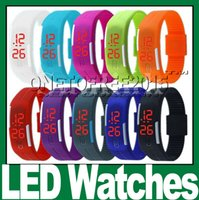 orange red led - 2015 New Fashion Sport LED Watches Candy Color Soft Silicone Rubber Touch Screen Digital Watches Waterproof Bracelet Wristwatch
