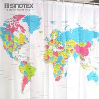 bathroom curtain patterns - Shower Curtain World Map Pattern Creative Shower Curtain Bathroom Waterproof Polyester Fabric cm Hooks