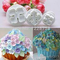 fondant flowers - 3pcs Hydrangea Fondant Cake Decorating Sugar Craft Plunger Cutter Flower Mold IB010 W0 SYSR