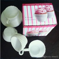 Wholesale Silicone Cake Cup Tea Cup Silicone Cupcake Moulds Baking Fun Party Cakes Muffin Mould Cup Saucers Boxed