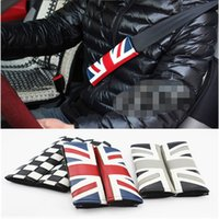 Wholesale FOR BMW MINI COOPER LEATHER CHECKERED FLAG BLK WHITE LOGO COMFORT SEATBELT SHOULDER PAD