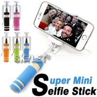 aluminum wire cable - Monopod Wired Selfie Stick Super Mini Cable Take Pole Foldable all in one Monopod Self Timer Kit With Groove For Iphone In Retail Box