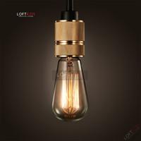 Base de la lámpara industrial de la vendimia Anillo de cobre amarillo antiguo de la lámpara de Edison E27 E26 Base 110V 220V Base de la lámpara