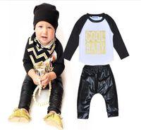 Cheap Cool Baby Spring Fall 2pcs Set 2016 Newborn Clothing Letter Long Sleeve T Shirts+ Black Pants Children Boys Clothes Set