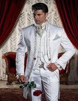 Wholesale Custom Made Groom Tuxedos Groomsmen - Wholesale - 2017 Custom Made White Embroidery Groom Tuxedos Stand Collar Groomsmen Best Man Suits Mens Wedding Suits (Jacket+Pants+Vest