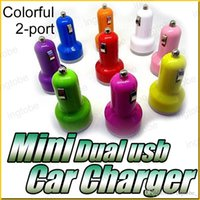 Car Chargers charger ipad mini - Charger Round Mini Colorful USB Port Cigarette A Car Charger Micro Dual USB Adapter for iPhone iPad Samsung Note
