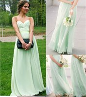 Wholesale Mint Sweetheart Bridesmaid Dresses Strapless Floor length Chiffon Party Dress with Exquisite Pleats and Ribbon Vestido De Festa