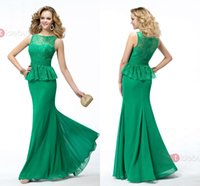 Cheap New Green Lace Chiffon Mermaid Formal Evening Prom Dresses Peplum Elegant Bridesmaid Party Celebrity Gowns 2015 Cheap Free Shipping