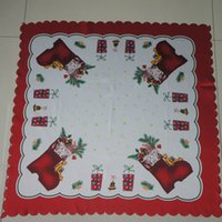 Wholesale Sales Promotion Printed Christmas Tablecloth Square Satin Manteles Para Mesa cm Decoration Coffee Table