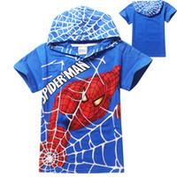 kids cartoon clothing - Cartoon spiderman short t shirts hoodies kids baby children t shirts childer hoodies clothing C001