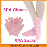Wholesale 2015 Pair Glove Pair Socks Whiten Skin Moisturizing Treatment Gel SPA Gloves And Socks Hand Mask uva order lt no track