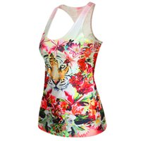 Wholesale Dila Meng mainstream fashion leisure wild animal print sleeveless round neck T shirt Slim female vest