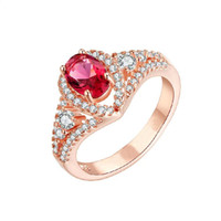 Wholesale New arrive Fashion Ruby Rhinestone Rose Gold Plate Silver Ring Various sizes for sale