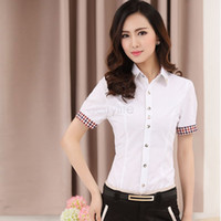Professional Business Women Work Wear Shirts Formal Autumn Spring Women's Blouses Red White Work Wear Tops