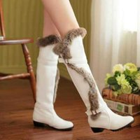 beige heels for women - High Quality Thick Low Heels Knee High Boots For Women Sexy Metal Buckle Long Warm Fur Snow Boot Ladies Shoes Hot Sale