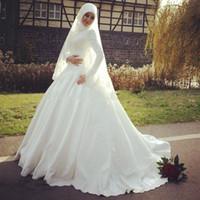 islamic wedding dress - 2015 New Elegant White Hijab Wedding Dresses Long Sleeve High Neck Applique Beads Satin Lace Court Train Islamic Muslim Bridal Gowns