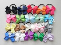 Wholesale Grosgrain Bows with bobbles ponytails Baby Hairwear ribbon bows hairband hair accessories kids bows flower PJ5201