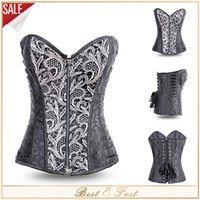 Cheap New Sexy Black Full Steel Boned Bustiers Zipper Front Embroidered Corset Overbust Corsets Top Waist Training Corsets Corselet