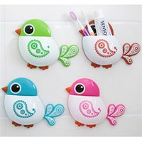 Wholesale Lovely Bird Sucker Toothbrush Holder Bathroom Accessories Household Items Toothbrush Holder Wall Bathroom Products Bathroom Set
