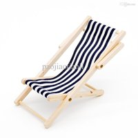 Wholesale Stripe Blue Foldable Beach Chair Wood and Cloth Material Dollhouse Miniature For Re ment Orcara Accessories