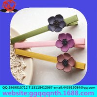 barrett hair clip - plain plumeria flower barrett hair clips metall